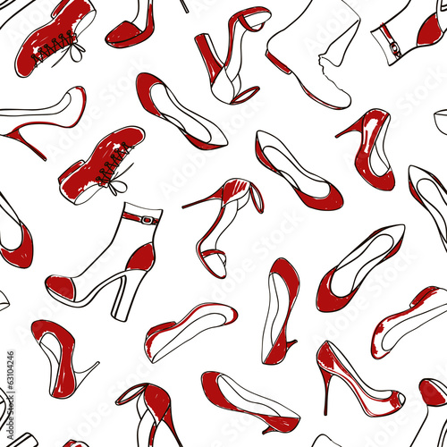 Seamless pattern of women footwear - 63104246