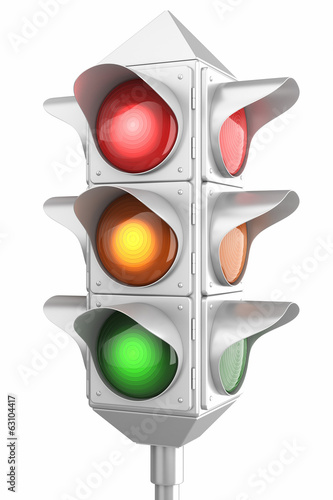 Retro traffic lights isolated on white background