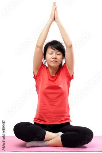 Woman practicing yoga isolated