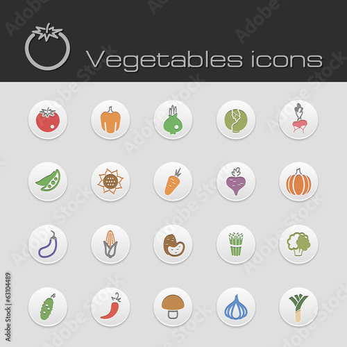 Icons set vegetables