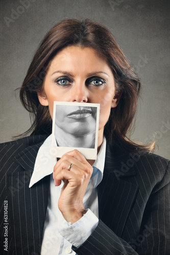 Business woman portrait with different mouth expression