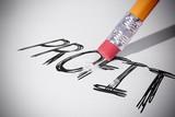 Pencil erasing the word Profit