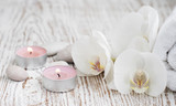Spa set with white orchids