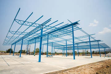 Steel frame construction.