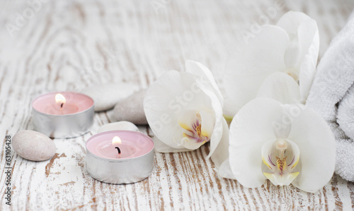 canvas print picture Spa set with white orchids