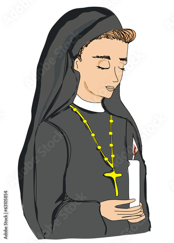 doodle illustration of nun