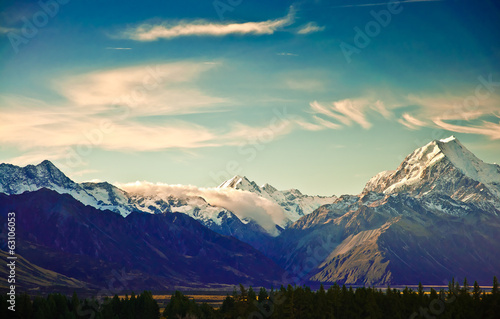 Poster New Zealand scenic mountain landscape shot at Mount Cook Nationa