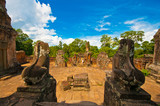 Ancient buddhist khmer temple in Angkor Wat, Cambodia. East Mebo