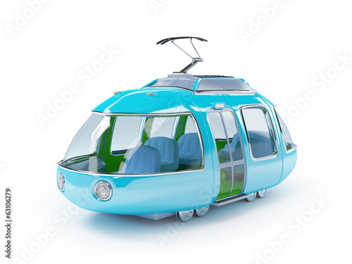 blue cartoon tram one wagon