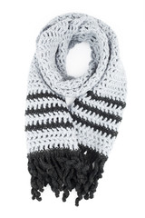 grey scarf of handwork knitted by a hook on a white background