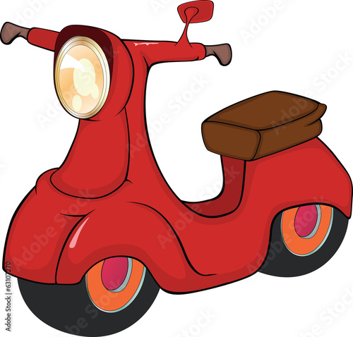 Red motor scooter cartoon