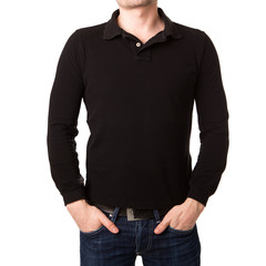 Black polo shirt with a long sleeve on a young man