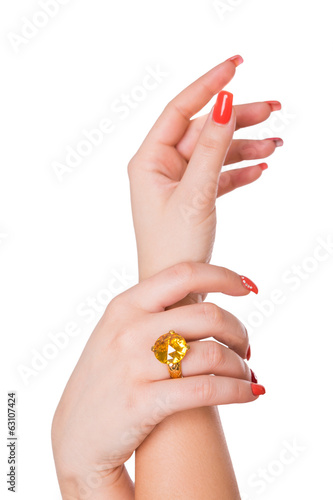 Ring with yellow citrine on a female hand