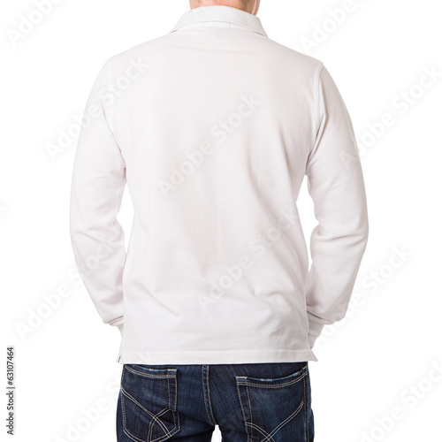 White polo shirt with a long sleeve on a young man