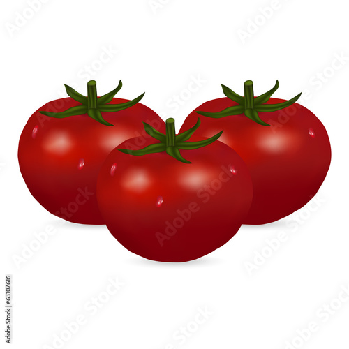three tomato isolated on white background