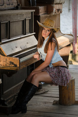 Western girl and piano