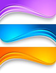 Set of wavy colorful banners.