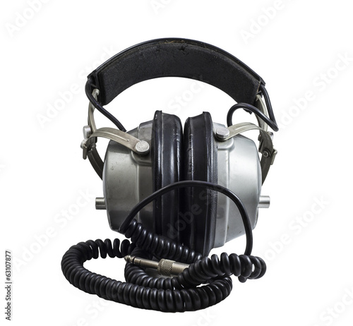 old headphones isolated on a white background