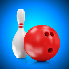 Bowling Ball and Skittles on blue gradient background