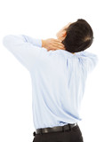 businessman experiencing physical neck discomfort poster