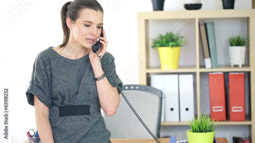 Young businesswoman talking on telephone in the office