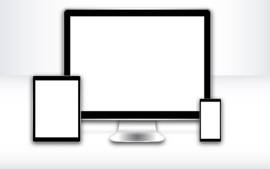 3d white screen devices web desing