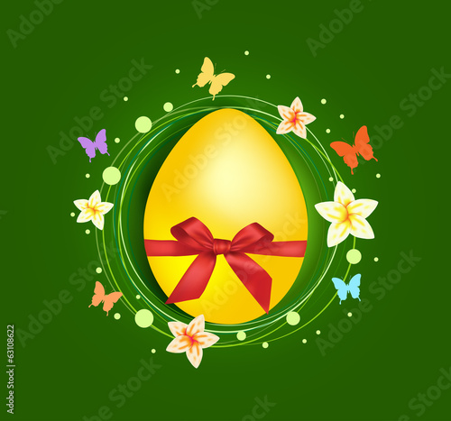Sweet Easter egg with gift bow greeting card