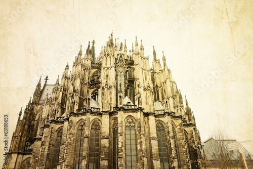 Retro view of Gothic Cathedral in Cologne