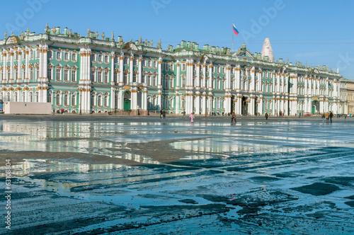 Hermitage, Russia, St Petersburg. Puddles on the paving square.