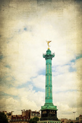 Vintage Place de la Bastille in Paris
