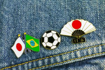 サッカー 国旗のピンバッジ