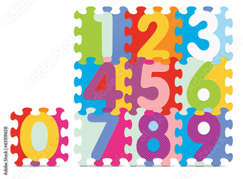 Vector numbers written with alphabet puzzle
