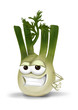 Cool, funny fennel cartoon character with a big smile.