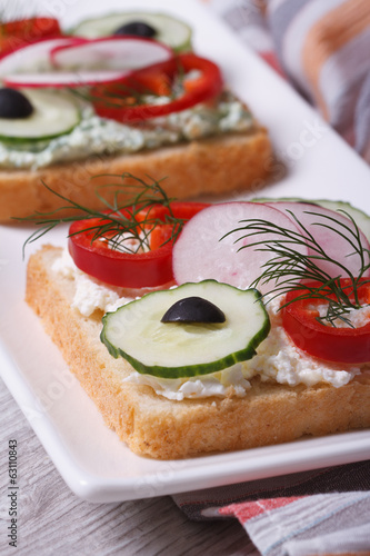 healthy sandwich with vegetables and soft cheese