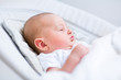 Portrait of a newborn baby sleeping in a bouncer chair