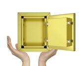 Hands holding open gold safe