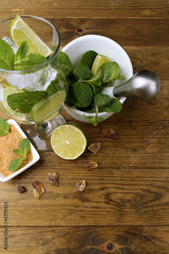 Ingredients for lemonade, on wooden table