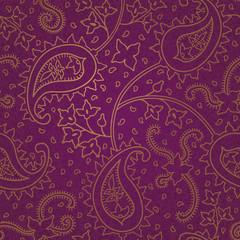 Ornate floral seamless texture. Purple endless pattern