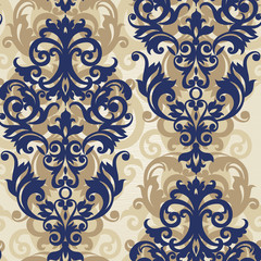 Vector seamless pattern with swirls and floral motifs.