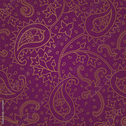 Ornate floral seamless texture. Purple endless pattern
