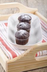 chocolate cupcake with powdered sugar