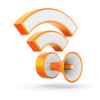 Orange glossy RSS feed sign with loudspeaker