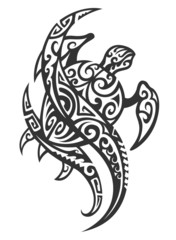 Tribal Turtle with Wave