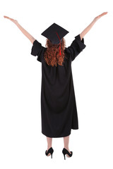 Graduating student isolated on white
