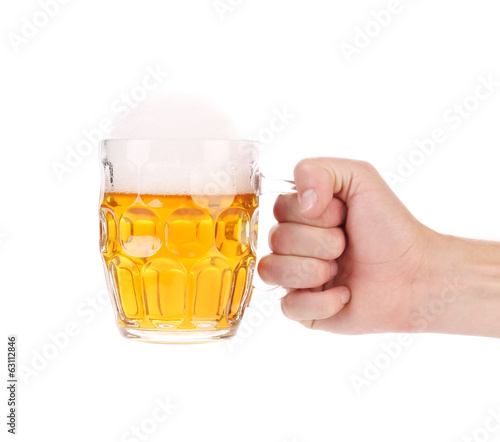 Big mug with gold beer in hand.