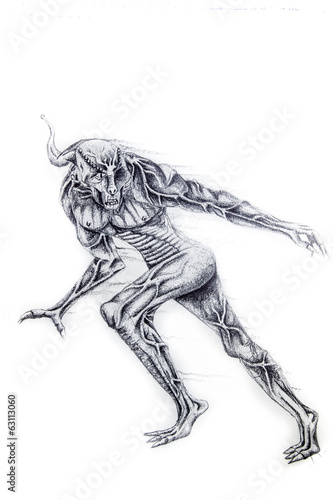 Alien monster, Tattoo sketch illustration