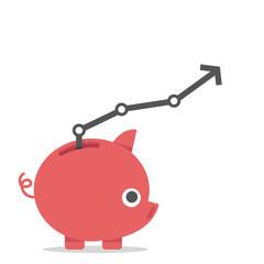 Piggy bank and interest