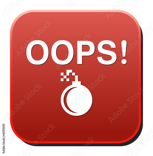 button with the word Oops