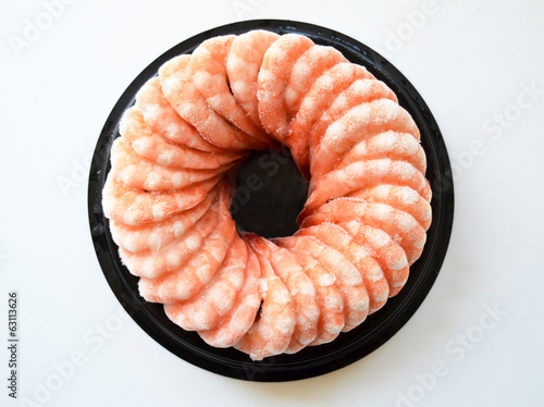 Fresh prawns frozen circle, closeup