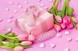 rosa Arrangement, Tulpen, Geschenk, Herzen